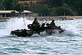 US Navy 060322-N-4772B-019 An Amphibious Assault Vehicle (AAV) assigned to the 31st Marine Expeditionary Unit (MEU) departs the beach bound for the amphibious dock landing ship USS Harpers Ferry (LSD 49).jpg