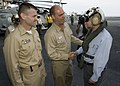 US Navy 060418-N-4166B-069 The U.S. Ambassador to Thailand, Mr. Ralph Boyce is greeted by Commander Carrier Strike Group Nine, Rear Adm. Bill Goodwin, and USS Abraham Lincoln (CVN 72) Commanding Officer, Capt. C. A. McCawley, o.jpg