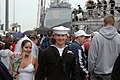 US Navy 061017-N-4515N-156 Gunner's Mate 3rd Class James Hegedudusich and his fiancée depart the pier to get married as he returned from deployment aboard the guided-missile destroyer USS James E. Williams (DDG 95).jpg