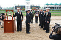 US Navy 090502-B-6997B-017 LOUISVILLE, Ky. (May 2, 2009) Sailors assigned to Navy Recruiting District Ohio participate in a ceremony at the Kentucky Derby to memorialize thoroughbred race horse Eight Belles.jpg