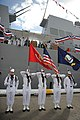 US Navy 101113-M-2581P-046 Members of a U.S. Navy color guard presents USS Jason Dunham (DDG 109).the colors during the commissioning ceremony of.jpg