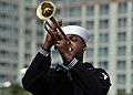 US Navy 110410-N-RO948-017 Musician 3rd Class Michael Bookman Jr. plays the trumpet during a performance at the 2011 Jinhae International Military.jpg