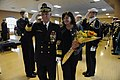 US Navy 111117-N-PO203-394 Rear Adm. Nevin Carr and his wife, Ann Cary, pass through ceremonial sideboys after a change of command ceremony and ret.jpg