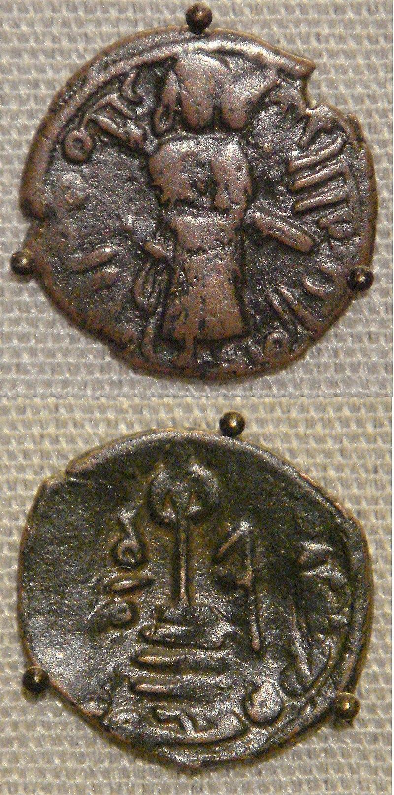 Umayyad calif Sassanian prototype copper falus Aleppo Syria circa 695 CE.jpg