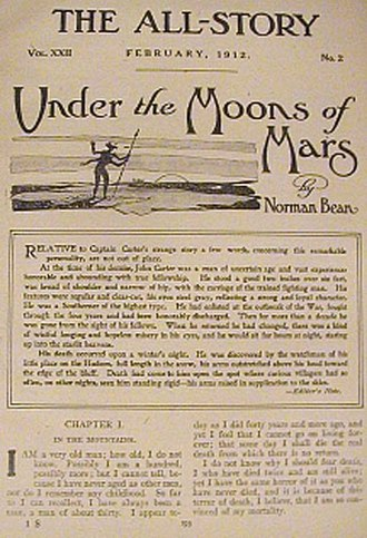 """A Princess of Mars - The original publication of """"Under the Moons of Mars"""" in The All-Story, February 1912"""