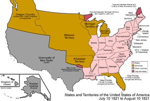 Territorial evolution of California - An enlargeable map of the United States after the Adams-Onís Treaty took effect in 1821
