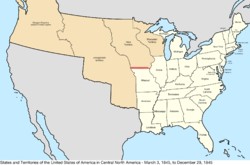Map of the United States in central North America from March 3, 1845, to December 29, 1845