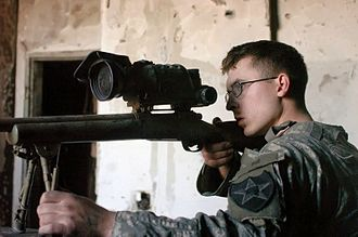 Battle of Haifa Street - A US Sniper with the 3-2SBCT prepares to fire on insurgent forces, January 24, 2007