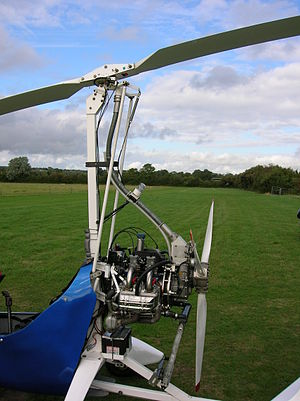 Autogyro - The rotor head, pre-rotator shaft and Subaru engine configuration on a VPM M-16 autogyro