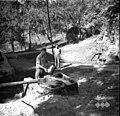 """V korito zliva z """"dežo"""" vodo iz """"šterne"""" (vodnjaka). Šterna na vago, letnica vsekana v kamen ob šterni 1840, Prapetno 1954.jpg"""