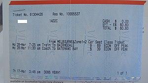 V/Line - V/line Reserved Seating Ticket