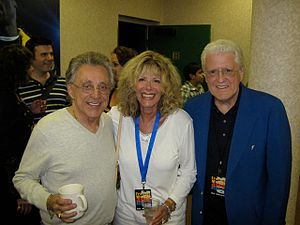 Linda November - Linda November with Frankie Valli (left) and husband Artie Schroeck (right) in 2010