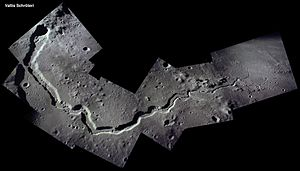 Schroter's Valley - Rille on the valley floor, photographic mosaic from Apollo 15