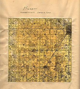 Bangor Township, Van Buren County, Michigan - A 1906 cadastral map of Bangor Township, showing property lines and names of rural landowners