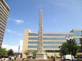 Zebulon Baird Vance - Vance Monument in Asheville, North Carolina, with the Merrill Lynch building in the rear