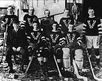 Hughie Lehman - The Vancouver Millionaires in 1914–15, after their Stanley Cup victory; Lehman is seated bottom row, far right.