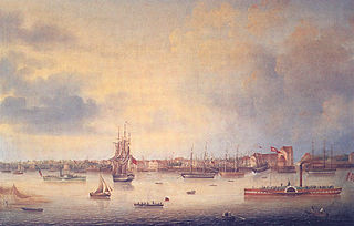 View of Vegesack (Bremen), Germany, at the river Weser in the year 1847.