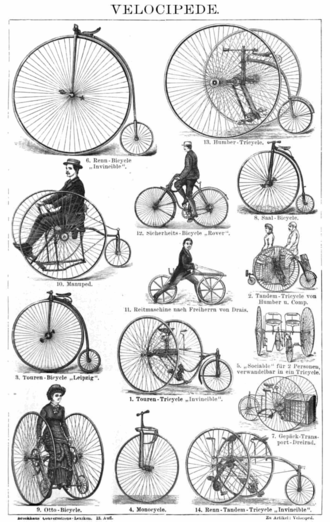 Velocipede - Velocipedes from an 1887 German encyclopedia. Among the examples shown are a Penny farthing and a Boneshaker.