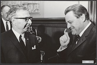 Jelle Zijlstra - Prime Minister Jelle Zijlstra and Minister of Finance of West Germany Franz Josef Strauss in The Hague on 16 January 1967.