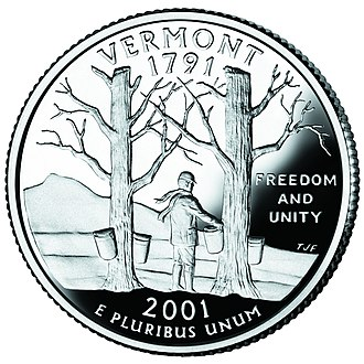 Camel's Hump - The Vermont state quarter depicts Camel's Hump and Maple trees with sap buckets