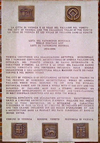 City of Vicenza and the Palladian Villas of the Veneto - Plaque for Vicenza in the UNESCO World Heritage List