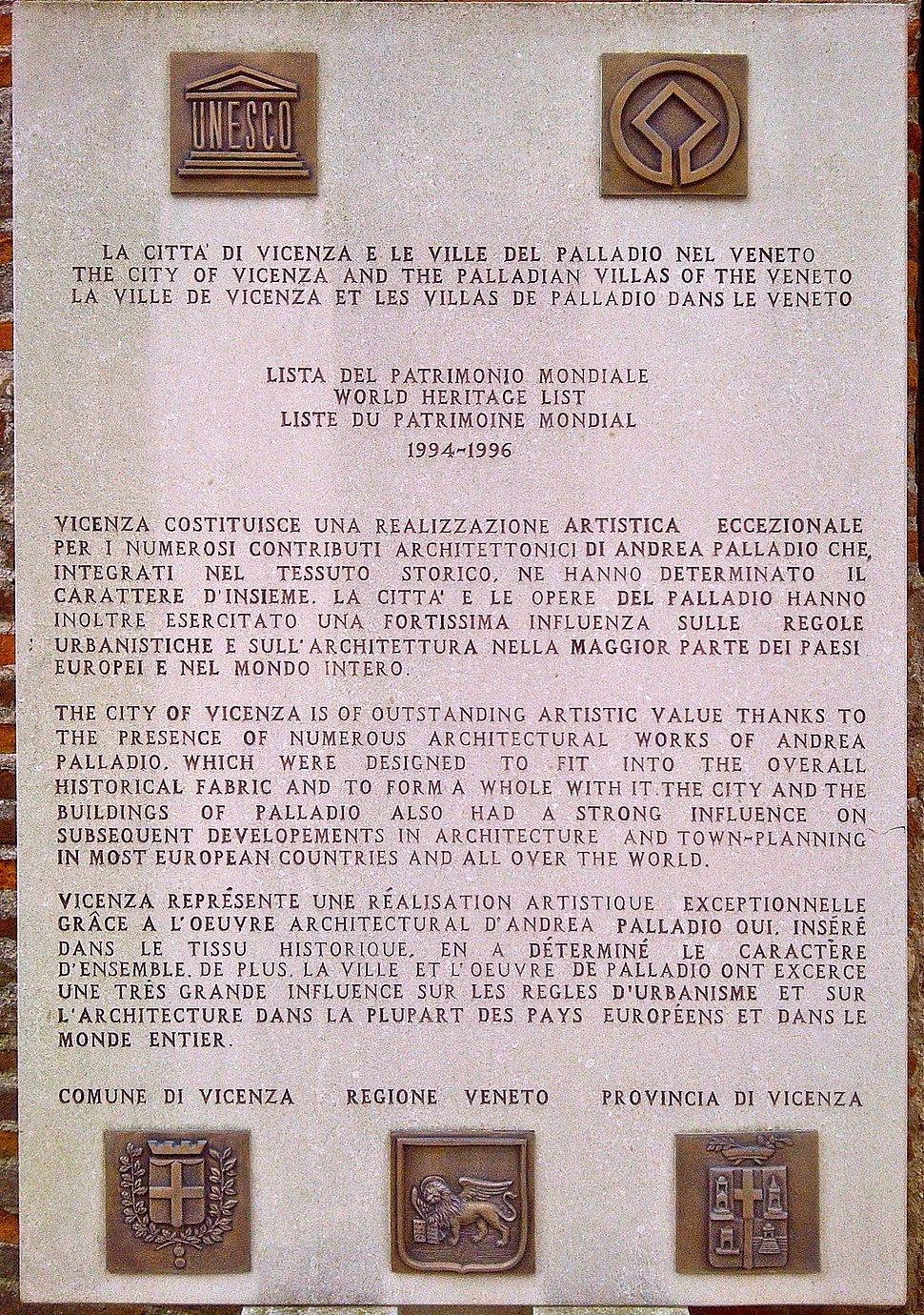 Vicenza, World Heritage List