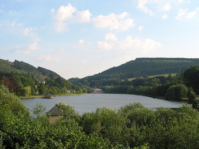 Vielsalm (Belgique), the lake seen from the rue des Chasseurs Ardennais.