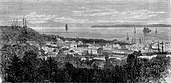 An image of Astoria in 1868 with various mast sailing ships.