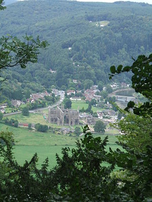 Wye Valley - Tintern Abbey in the Wye Valley, viewed from the Devil's Pulpit near Tidenham
