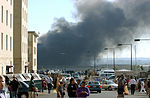 View of the Pentagon from the Navy Annex minutes after a hijacked jetliner crashed into the building at approximately 0930 on September 11, 2001 010911-M-CI426-002.jpg