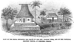 Somosomo - Image: View of the house enclosing the grave of Rev. William Cross, and the principal heathen temple, at Somosomo, Feejee (IV, November 1847, p.120) Copy