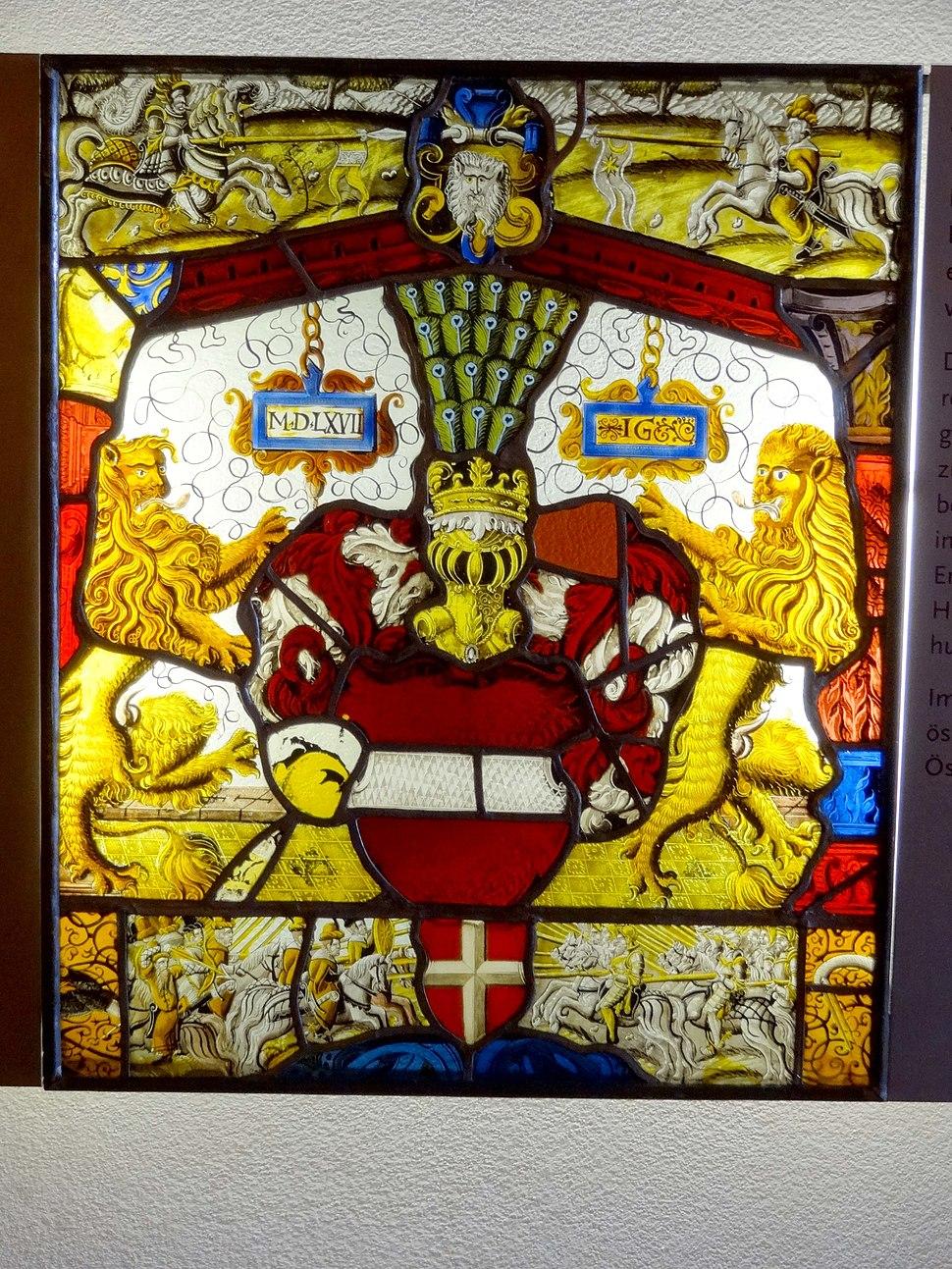 Villingen, Franziskanermuseum, Wappenscheibe mit dem österr. Bindenschild, 1567, Inv. 11858