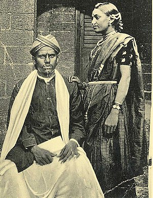 Vintage photograph of a Telugu couple (unknown date).jpg