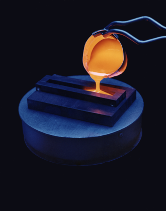 Vitrification - A vitrification experiment, using molten glass.