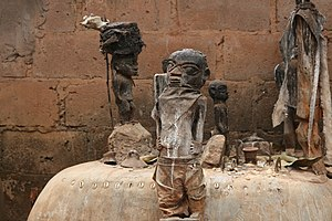 West African Vodun - Vodun altar with several fetishes in Abomey, Benin.