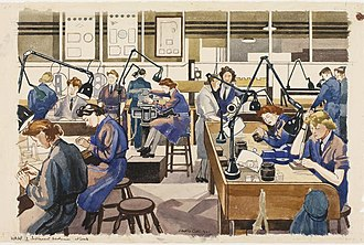 Anglepoise lamp - WAAF Instrument Mechanics at Work (1941) by Dorothy Coke
