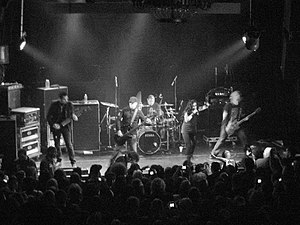 We Are the Fallen - We Are the Fallen performing at Irving Plaza in New York City in 2010. Left to Right: John LeCompt, Marty O'Brien, Rocky Gray, Carly Smithson, and Ben Moody