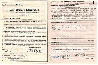 Reconstruction Finance Corporation - An insurance policy issued by the War Damage Corporation in 1943