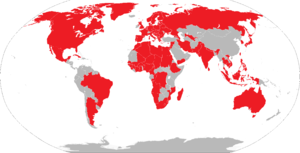World Veterans Federation - Red areas have at least one member of the World Veterans Association.