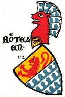 1860 depiction of the coat of arms of the lords of Rötteln