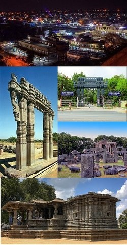 Clockwise frae tap: Ceety view as seen frae Govindarajula hill, Kakatiya University, Warangal Fort, Thousand Pillar Temple, Kakatiya Kala Thoranam