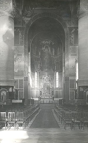 Alexander Nevsky Cathedral, Warsaw - Interior of the cathedral as it appeared in 1915, after retreating Russians removed many of the decorations. Note the chairs in the hall, showing the Cathedral in use as a Lutheran church by the German army. Worshippers do not sit in Russian Orthodox churches.