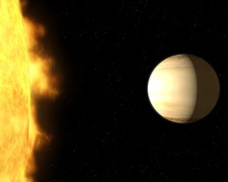 Wide Angle Search for Planets - WASP-39b and its parent star (artist's impression).