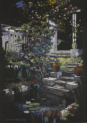 Spencer Baird Nichols - Gouache on black paper painting by Spencer Baird Nichols depicting the water garden in the Bronxville home the family had from 1915 to 1922.