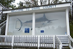 Marlin - A taxidermy marlin greets visitors to Dare County, North Carolina.