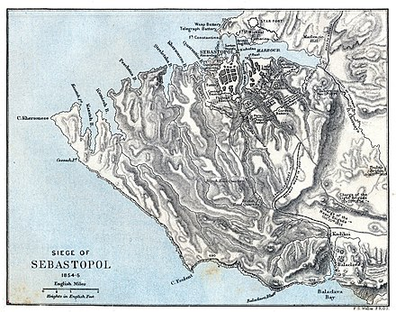 Historical map showing the territory between Balaclava and Sevastopol at the time of the Siege of Sevastopol Weller Siege of Sebastopol 1854-1855.jpg