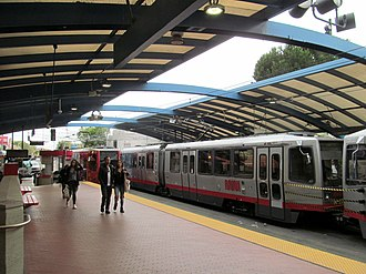 West Portal station - Muni Metro trains at West Portal station in 2017