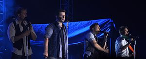 Westlife performing live on their Gravity Tour in October 2011 in Hanoi, Vietnam