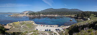 Point Lobos - Looking north over Whaler's Cove, the largest of a number of coves in Point Lobos, and the location of Whalers Cabin.