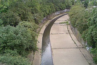 Wickford - The River Crouch flows through Wickford in a concrete bank designed to protect the town from flooding.